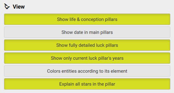 Ba zi - View options